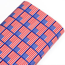 FQ - USA United States American Flag Cotton Print Fabric Dress Quilt Bunting A86