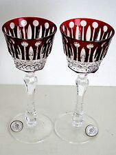 AJKA XENIA RUBY RED CASED CUT TO CLEAR CRYSTAL LIQUER WINE GLASS Set of 2 SIGNED