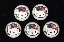 HELLO KITTY NY YANKEES 20mm GLASS DOME FLATBACK CABOCHON EMBELLISHMENTS 5 pcs