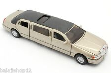"Kinsmart 1999 Lincoln Town Car Stretch Limousine 1:38 scale 7"" diecast Matt gold"