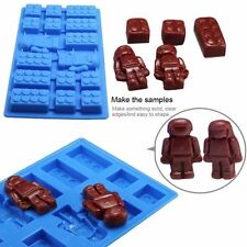 Lego brick AND minifigure silicone jelly chocolate ice cube cake mold tray