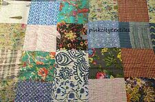 Vintage Twin Size Multi Color Patchwork Kantha Quilt Reversible Bedspread Throw