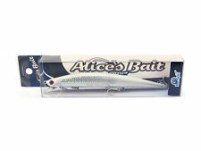 "NEW LONG JERK ""ALICE'S BAIT"" MINNOW 140 SLIM SINKING COLOR: AD72 SILVER WHITE"