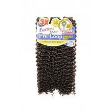 "FreeTress 3X PRE-LOOP WATER WAVE 16"" Crochet Synthetic Braiding Hair #1B OffBlck"