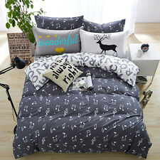 Happy Music Notes Grey Double Bed Set Duvet Quilt Cover Bedsheet Pillowcases