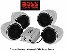 Chrome Audio Sound System Triumph BMW 1000 Watt Custom Clamp On All Weather New