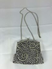 Zoe Adams Small Silver Beaded Purse Evening Bag (EM)