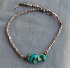 Vintage Pueblo Shell Heishi Turquoise & Bench Made Silver Bead Necklace