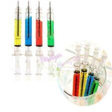 Novelty Fashion Liquid Syringe Needle Tube  Ball Point Pen Blue Ink Ballpoint