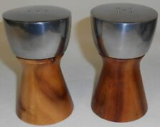 Mid Century DANSK Teak Wood & Stainless/Chrome SALT & PEPPER SET