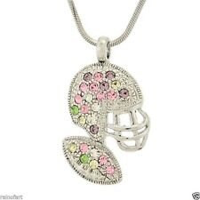 W Swarovski Crystal American Football Helmet Ball Multi Color Necklace Jewelry