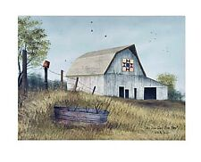 Country Primitive Farmhouse Billy Jacobs QUILT BARN  Picture Canvas Wall Plaque