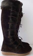 Clarks en daim marron en cuir longueur genou bordure en fourrure synthétique bottes 37 4