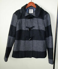 Old Navy Women's Size Small Gray & Black Striped Wool Blend Toggle Jacket Coat