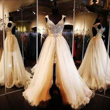 Luxury Detachable Prom Dress Crystals Sequins Gold Evening Party Formal Gowns