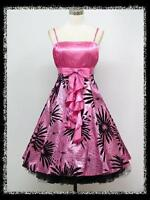 dress190 PINK FLORAL FLOCK 50s ROCKABILLY VTG PROM COCKTAIL PARTY DRESS 18-20