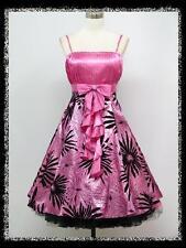 dress190 PINK FLORAL FLOCK 50s ROCKABILLY VTG PROM COCKTAIL PARTY DRESS 18-20