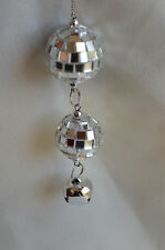 Silver Mirrored Ball Dangle with Jingle Bell Christmas Tree Ornament new