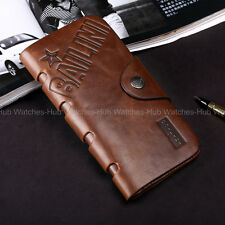 Bailini Mens Brown Bifold Wallet Long Leather Purse Cash Credit Cards Holder