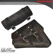 2004 & UP LaRosa Harley Sportster Rustic Black Leather Left Saddlebag + Tool Bag