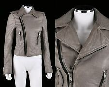 BALENCIAGA 2008 GRAY GENUINE LAMBSKIN LEATHER MOTORCYCLE JACKET SZ 38