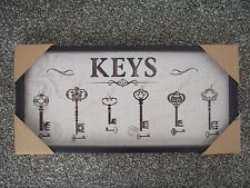 Retro Style Wooden Keys Holder Rack w/ 5 Hooks Wall Hanging Plaque Black Decor