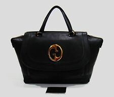 $2250 Gucci Italy 251813 Black Pebbled Leather '1973' Large Top Handle Tote Bag