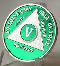 Green & Silver Plated 5 Year AA Chip Alcoholics Anonymous Medallion Coin Five