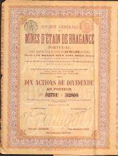 Mines d'Étain de BRAGANCE, titre de 10 actions (BELGIQUE PORTUGAL) (I)