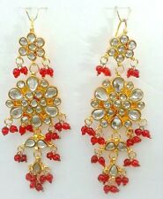 ELEGANT BOLLYWOOD INDIA SAREE JEWELRY JAIPURI DESIGNER KUNDAN DANGLE EARRINGS