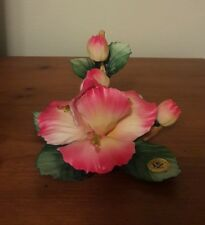 CAPODIMONTE BY CARLO SAVASTANO ITALY Pink Flower on Green Leaves w/ Stem