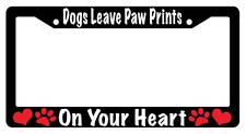 Black License Plate Frame DOGS LEAVE PAW PRINTS Auto Accessory 234