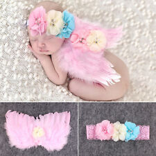 Newborn Baby Pretty Feather Angel Wing + Headband Photography Props Outfit Set