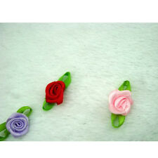 Ribbon Rose DIY Wedding Flower Satin Decor Bow Appliques Craft Sewing Leaves a