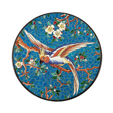 VINTAGE FRENCH MAJOLICA ART DECO POTTERY PLATE PARROT BIRD BRIGHT ENAMELS LONGWY