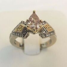 Ladies Custom Engagement 14k Gold Fancy Orange Pink Pear Brilliant Diamond Ring