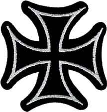 9695 Iron Cross Black & White Cutout Biker Punk Embroidered Sew Iron On Patch