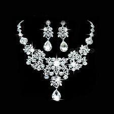 Silver Crystal Earrings Necklace Sets Wedding Party Bridal Bridesmaid Jewellery
