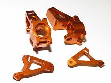 YY-MADMAX HPI KM ROVAN BAJA 1/5 5T 5B ALUMINUM STEERING KNUCKLE PAIR ORANGE