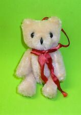 """VINTAGE CHRISTMAS MINIATURE WOOL FULLY JOINTED 3.5"""" BEAR GLASS EYE ORNAMENT CUTE"""