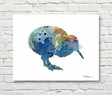 Blue Kiwi Bird Abstract Watercolor Painting Art Print by Artist DJ Rogers