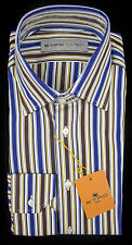 ETRO MILANO Italy White Purple Blue Striped Cotton Dress Shirt 39 M 15 NWT $395