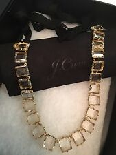 J.Crew Bright Clear Crystal Symphony Long Statement Necklace & Large Gift Box