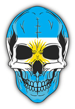 "Skull Flag Argentina Car Bumper Sticker 4"" x 5"""