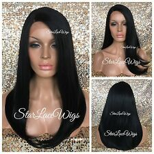 Long Straight Lace Front Wig Jet Black #1 Side Part Heat Safe Ok