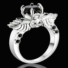 Gothic Winged Skull Black Sapphire Wedding Rings 18KT white Gold Filled Size 6