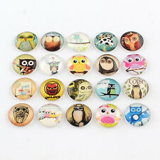 20pcs Cartoon Owl Pattern Glass Flatback Cabochons Half Round Mixed Color