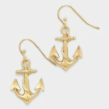 """Anchor Earrings Hanging Solid Metal GOLD 1 1/4"""" Nautical Beach Surf Jewelry"""