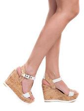 Femmes blanc d'été à lanières liège talon compensé plateforme talon haut sandales taille 4,5,7