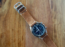 Horween Snuff Suede Horsehide Leather 2-piece Watch Strap Band 20mm Speedmaster